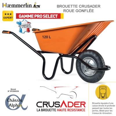 Brouette Crusader 120 orange - Roue gonflée