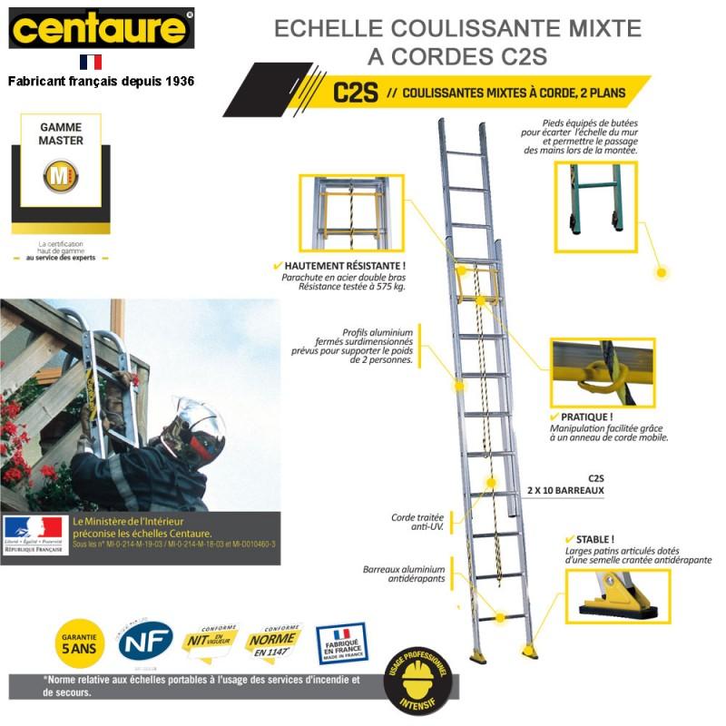 échelle de secours coulissante mixte à corde c2s