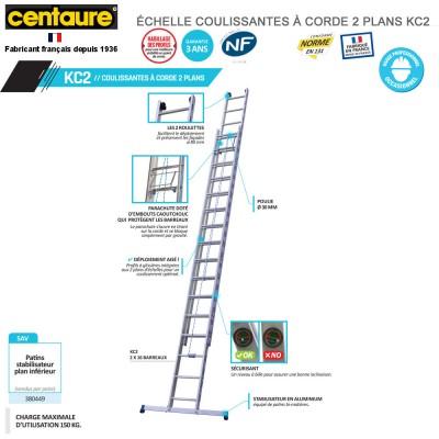Échelle coullissante confort 2 plans KC2 - de 5m95 à 8m50