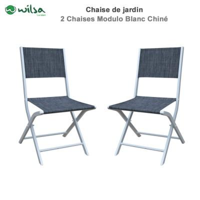 Chaises de jardin pliantes Modulo blanc chiné - Lot de 2