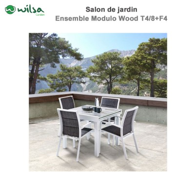 Salon de jardin Modulo Wood 4 places blanc-gris chiné