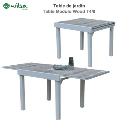 Table de jardin Modulo Wood 4/8 places Blanche/Gris bois