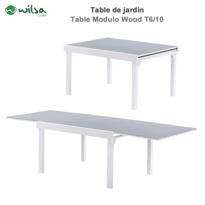 Table de jardin Modulo Wood 6/10 places Blanche/Gris bois