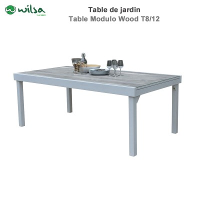 Table de jardin Modulo Wood 8/12 places Blanche/Gris bois