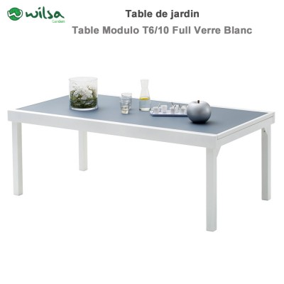 Table de jardin Modulo 8/12 places Blanche/Gris Perle