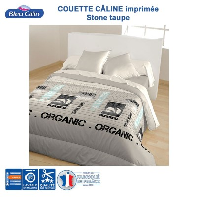 Couette imprimée 100% polyester - Stone Taupe