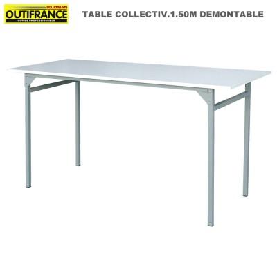 Table pliante plateau mélaminé blanc 1.50 mx 0.60 m