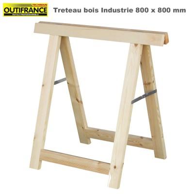 Tréteaux bois industrie 80 x 80 cm - Lot de 2