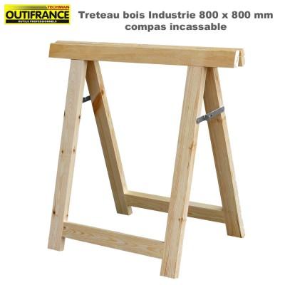 Tréteaux bois industrie compas incassable 80 x 80 cm - Lot de 2