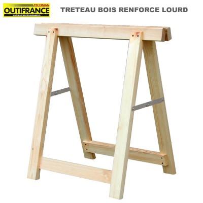 Tréteaux bois renforcé lourd  80 x 80 cm - Lot de 2