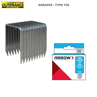 Agrafes à fil plat en acier galvanisé Type T50 - Boite 5000