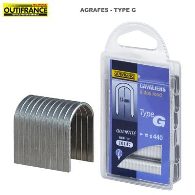 Agrafes à dos rond et fil plat en acier galvanisé Type G