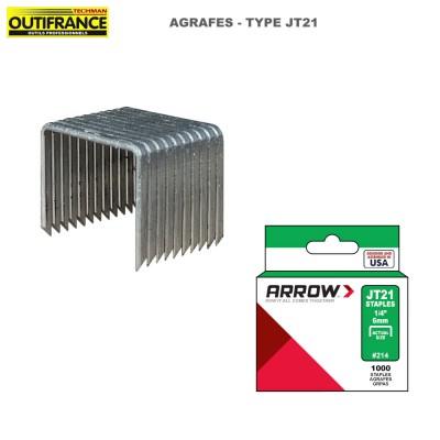 Agrafes à fil fin en acier galvanisé Type JT21 - Boite 1000