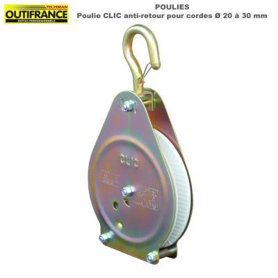 Poulie Clic anti-retour pour cordes Dia 20 à 30 mm