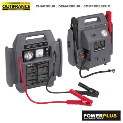 Chargeur - démarreur de batterie et compresseur portatif - 12V