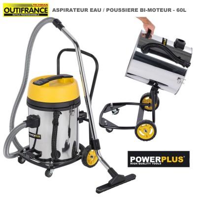 Aspirateur eau poussière 60 L - 2 x 1200 W