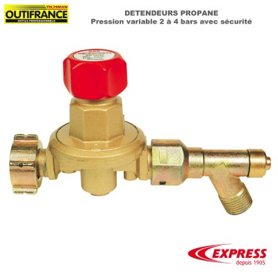 Détendeur Propane - Pression variable 2 à 4 bars avec sécurité