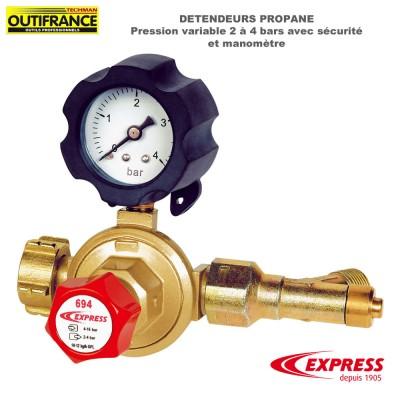 Détendeur Propane - Pression variable 2 à 4 bars avec sécurité et manomètre
