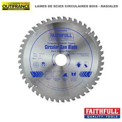 Lame de scie circulaire bois carbure Radiales - de 216 mm à 250mm