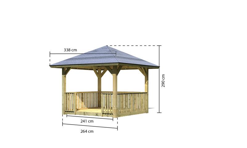 tonnelle bois bergen 1 balustrade et plancher karibu