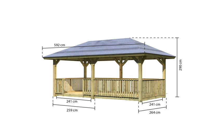 tonnelle bois bergen 2 balustrade et plancher karibu