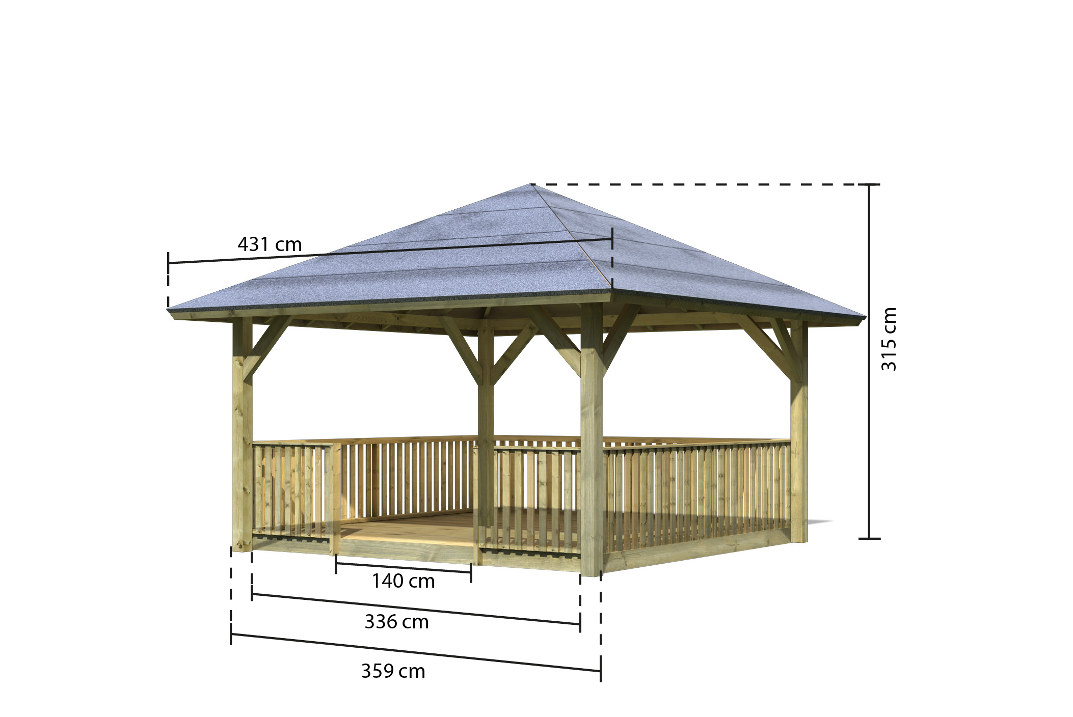 tonnelle bois holm 1 balustrade et plancher karibu