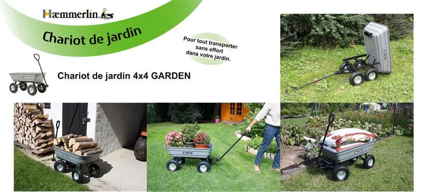 Chariot indispensable pour l'entretien du jardin destiné au transport de végétaux, sacs de terreau etc. - Capacité 75 litres
