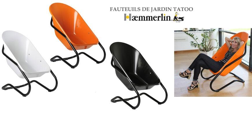 Haemmerlin détourne son produit phare, la brouette, pour en faire un fauteuil design, un objet du quotidien.