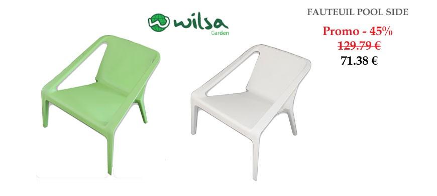 avec accoudoir en resine plastique moulée, ce fauteuil peut devenir indispensable autour de votre piscine