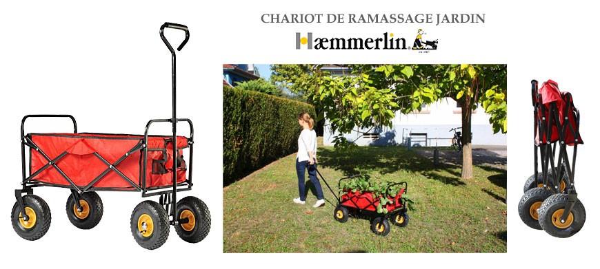 Chariot de jardin multi-usages, pour le ramassage et transport des déchets, sac de terreau, produits de jardin, outils…