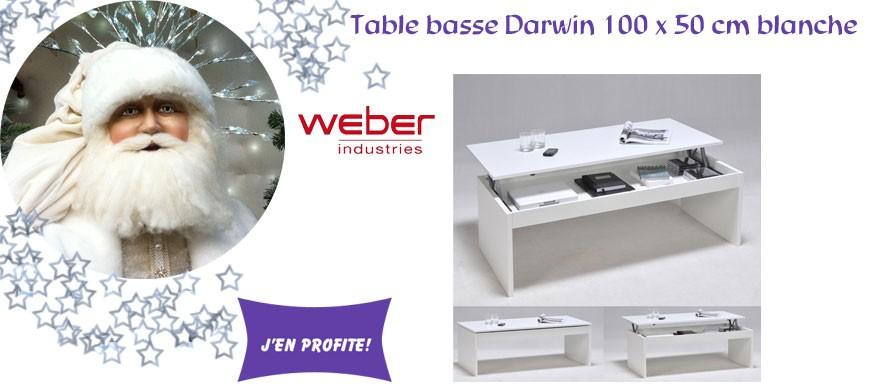 Table basse Darwin 100 x 50 cm blanche - Weber