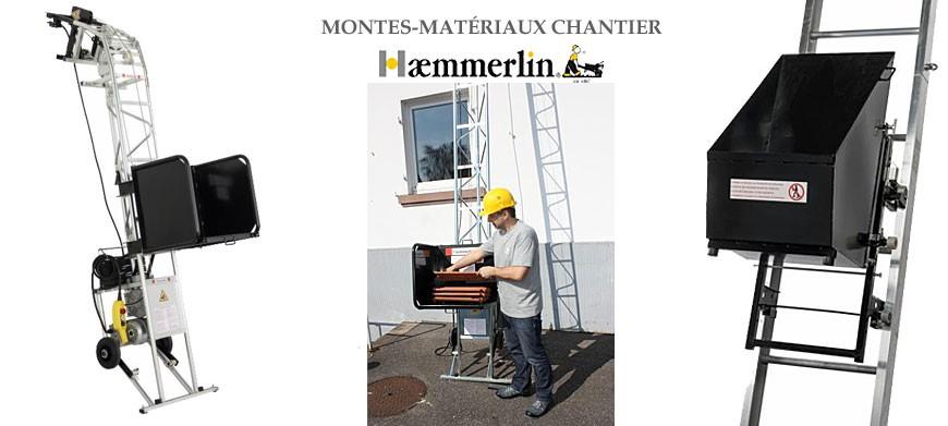 Haemmerlin spécialiste du monte-matériaux depuis plus de 40 ans. Une large gamme d'équipements, répond aux besoins de tous les corps de métiers, pour le levage de matériels et matériaux sur les chantiers du BTP.