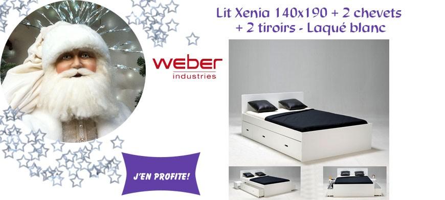 Lit Xenia 140x190 + 2 chevets + 2 tiroirs - Laqué blanc